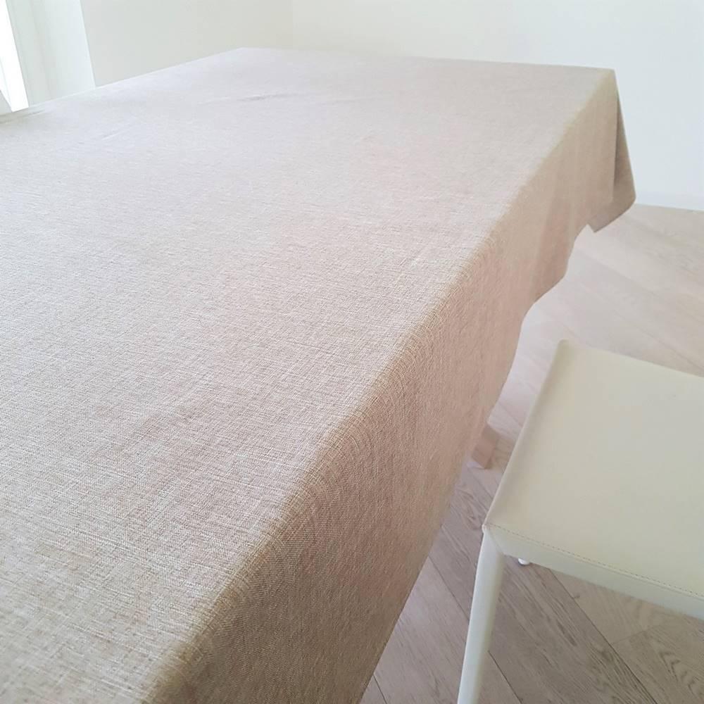 Tovaglia antimacchia idrorepellente effetto lino tortora 140 x 230