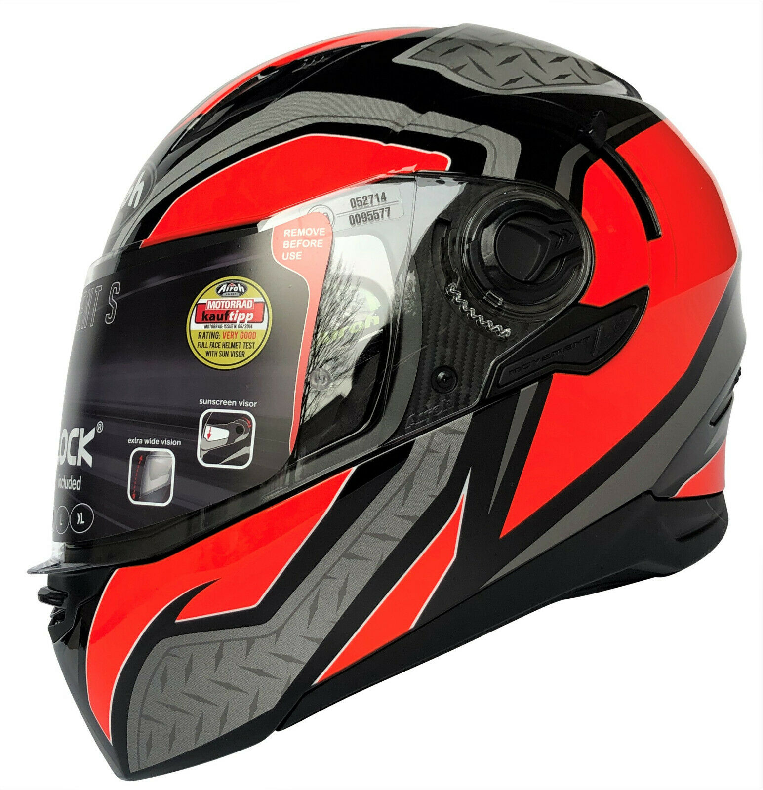 CASCO MOTO AIROH MOVEMENT S 2018 STEEL ORANGE GLOSS MVSST32