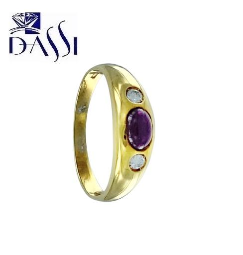 Anello in oro giallo 18kt con diamanti e rubino.