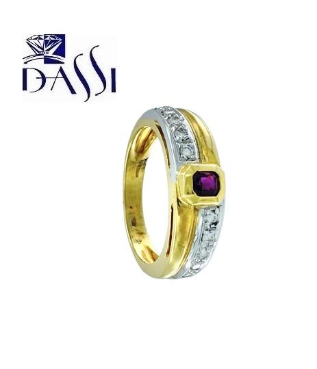 Anello a fascia in oro bicolore 18kt con diamanti e rubino