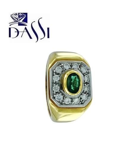 Anello a fascia in oro bicolore 18kt con diamanti e smeraldo