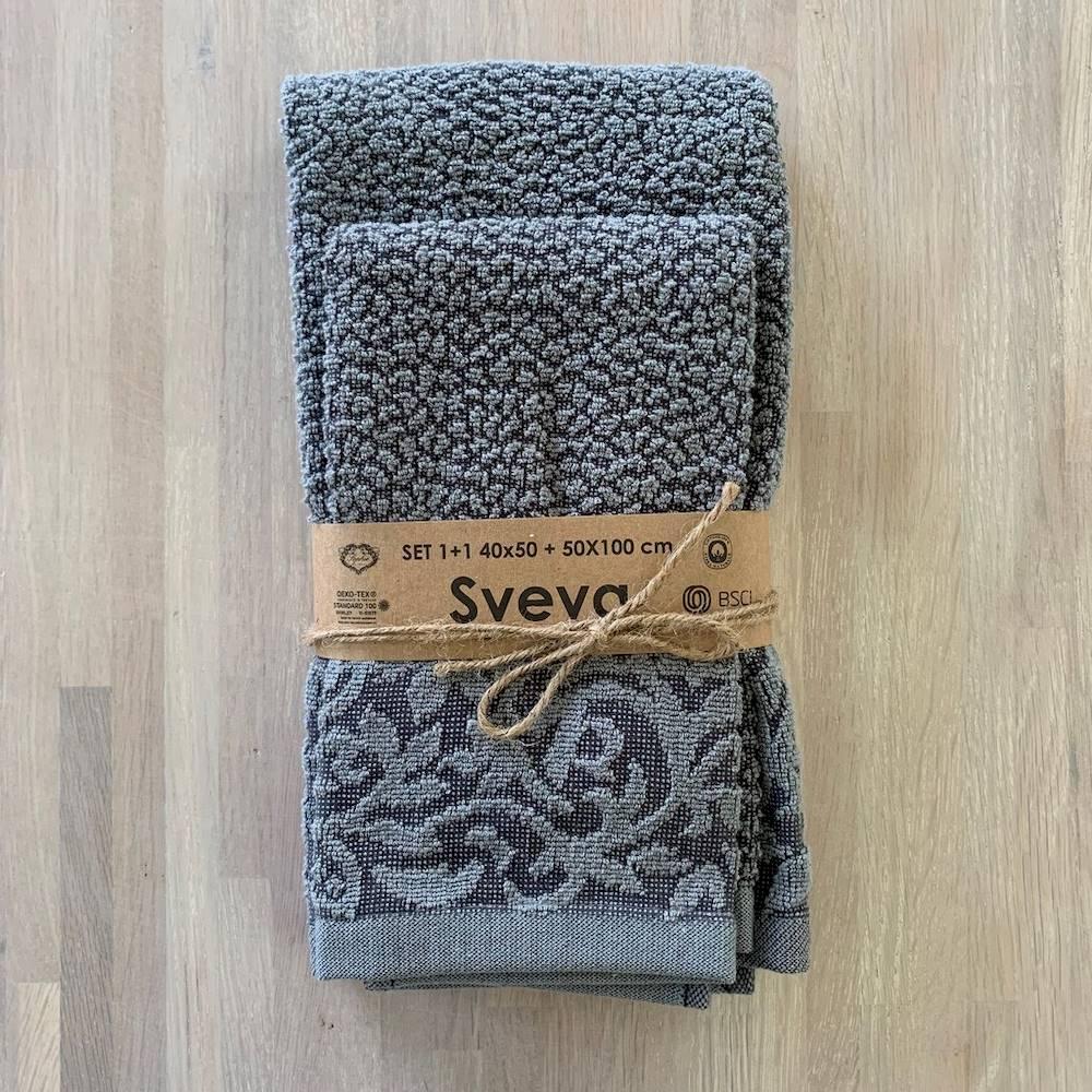 Coppia asciugamani Sveva bicolor grigio