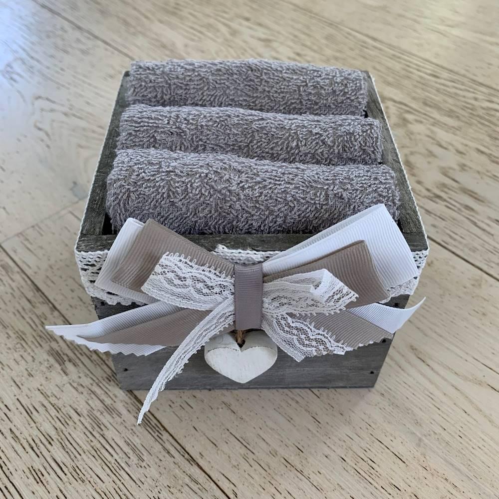Set 3 lavette cuore grigio