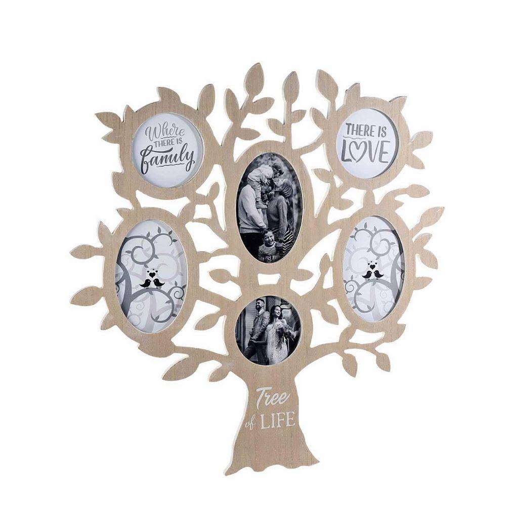 Portafoto legno Albero della Vita con 6 cornici da appendere