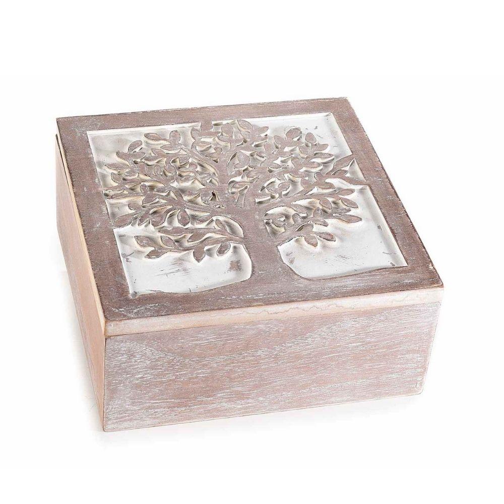 Scatola in legno portaoggetti con decoro albero della vita