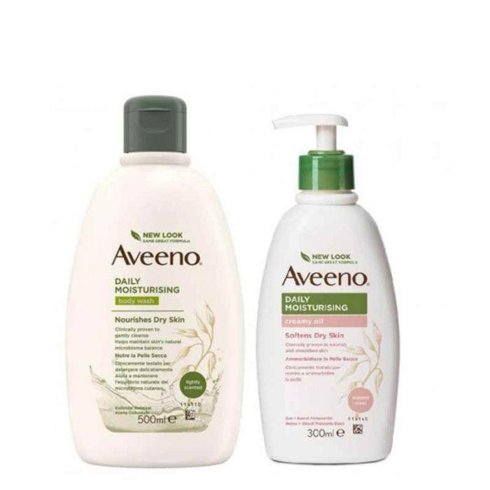 Aveeno bundle bagno doccia 500ml + crema idratante profumo di mandorle 300ml