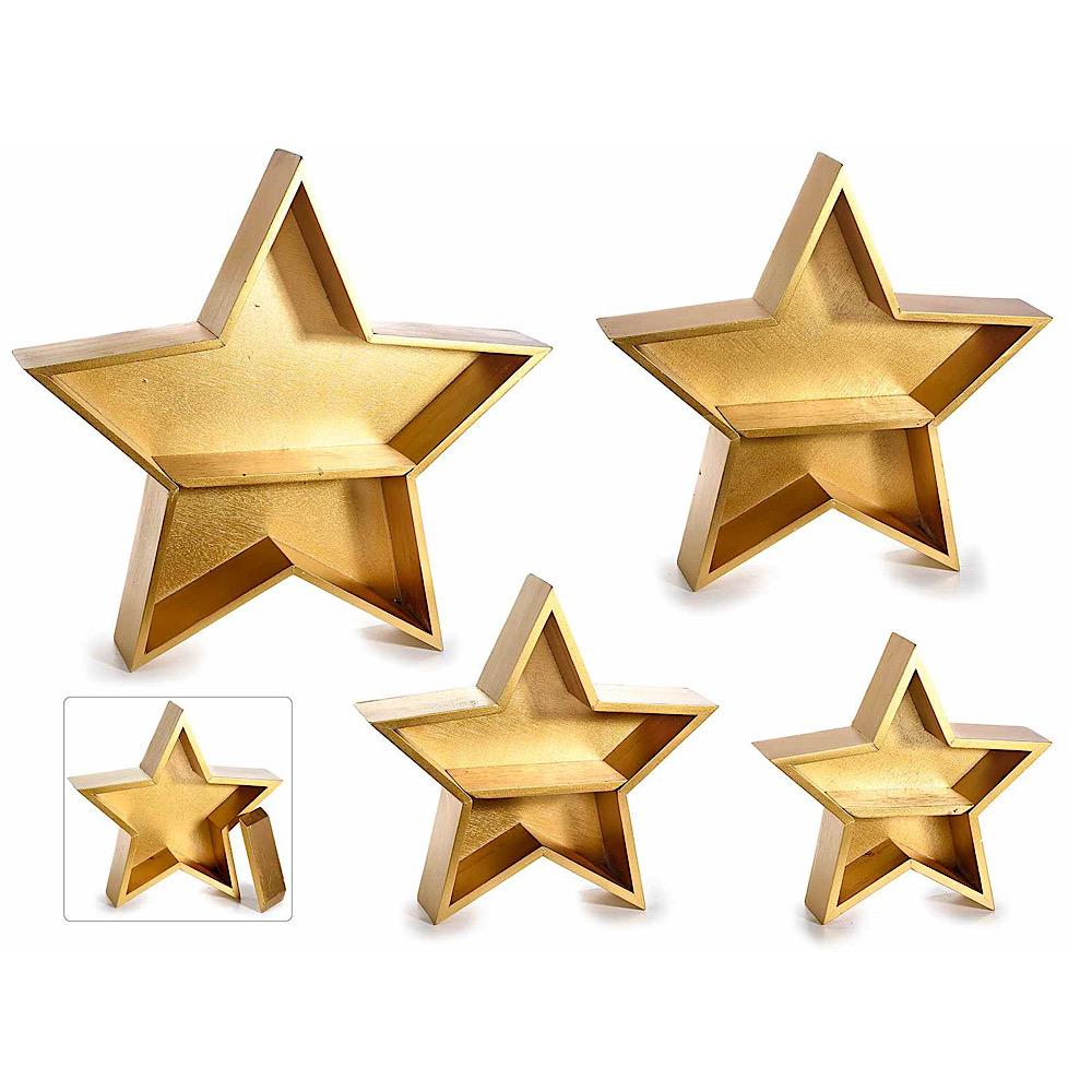 Set 4 scaffali stelle in legno dorato con mensola da appoggio