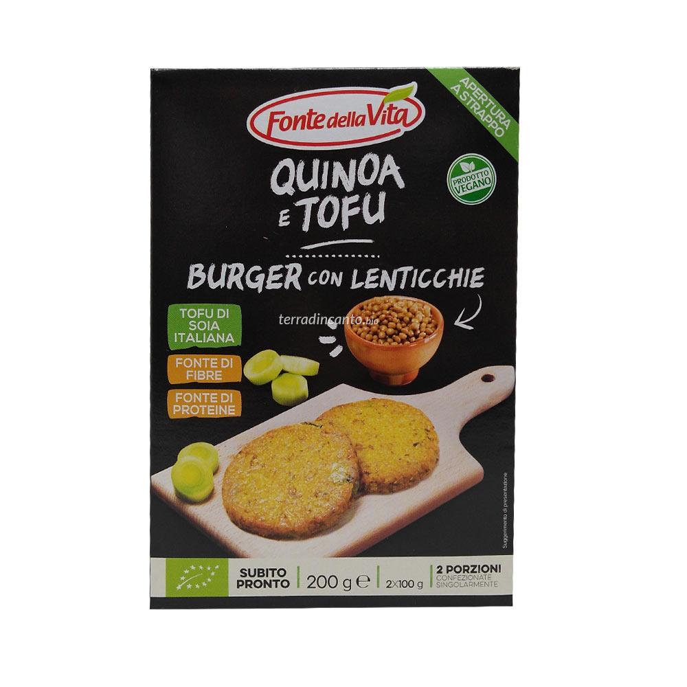Quinoa e tofu - burger con lenticchie FONTE DELLA VITA 200g