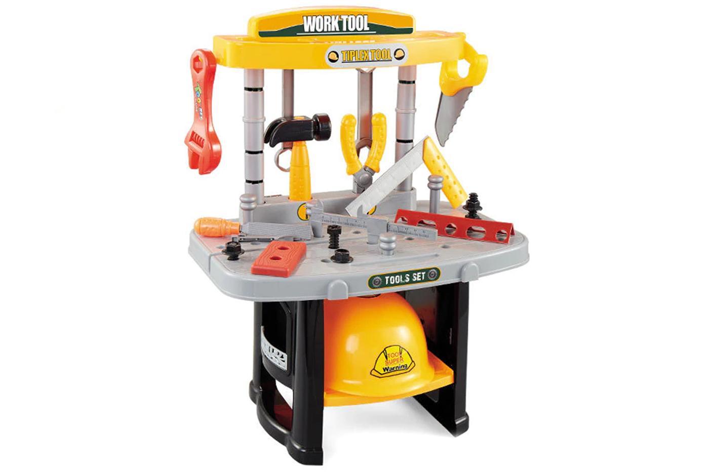 Set banco da lavoro giocattolo 36PZ utensili attrezzi con casco bambino