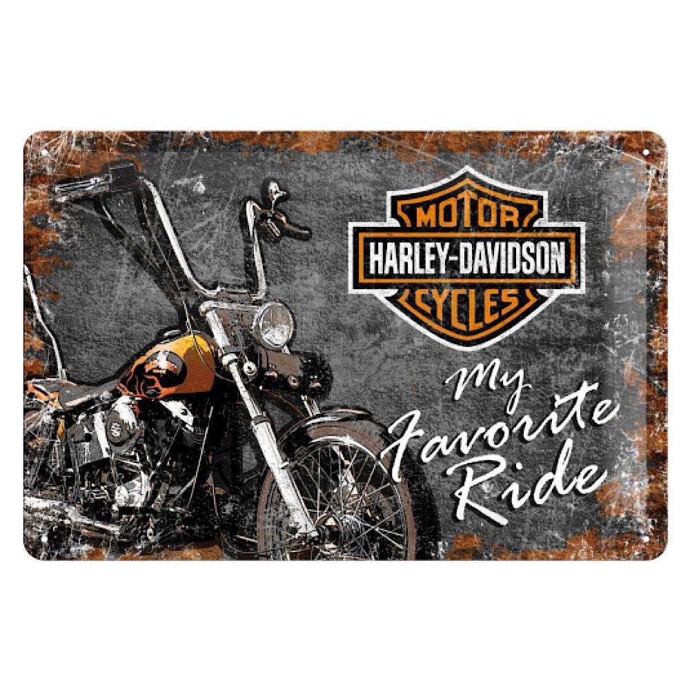 Cartello Harley Davidson - My Favorite Ride cm 20 x 30 metallo