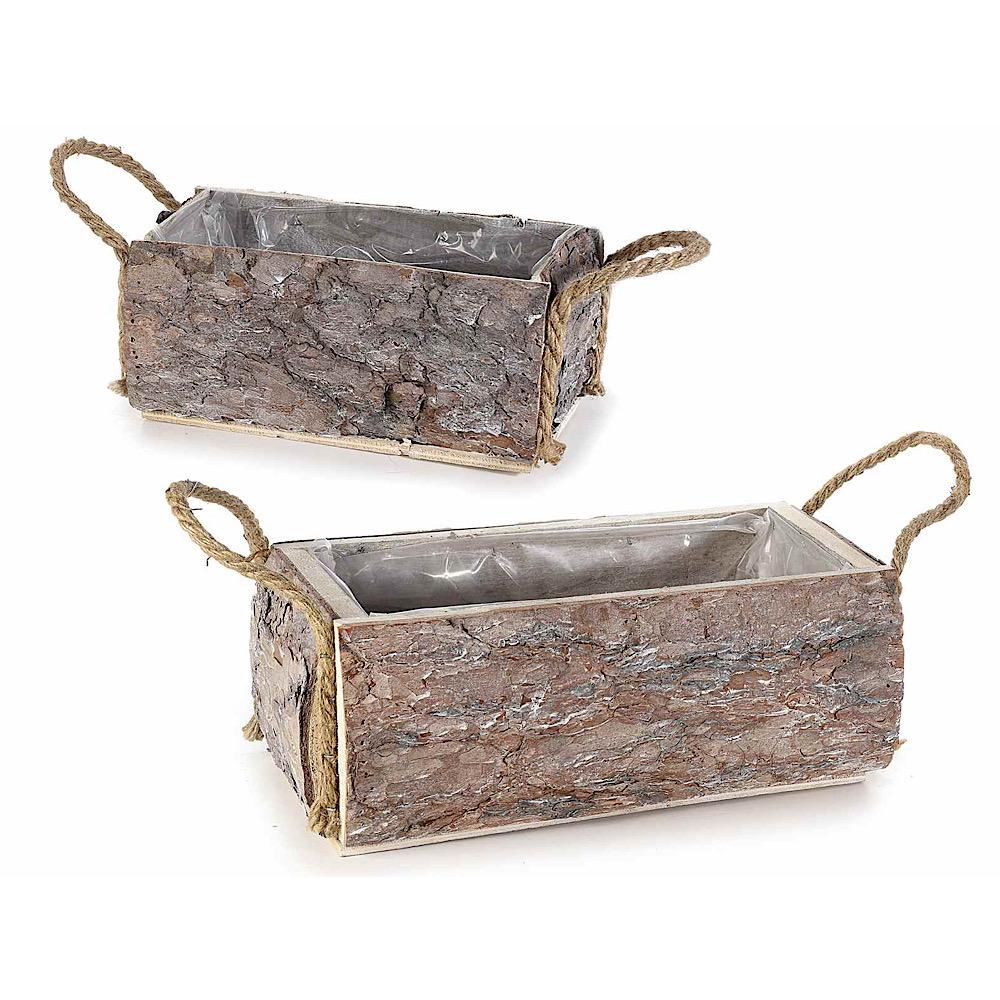Set 2 cestini in legno naturale con manici in corda
