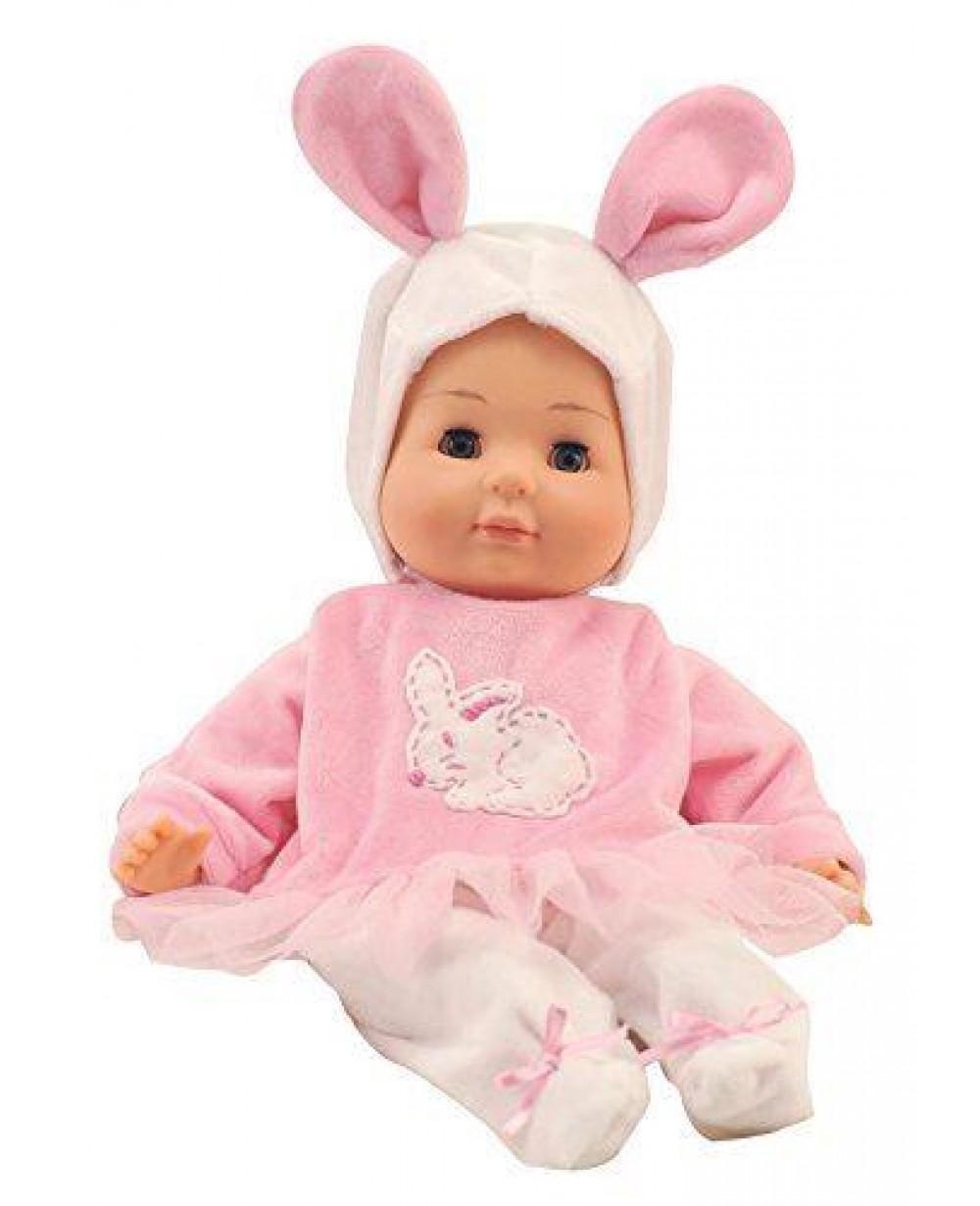 Bambola Bambolotto Rosa 36 cm con Vestito da Coniglio Giocheria