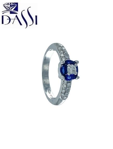 Anello in oro bianco 18 kt con diamanti e zaffiro blu