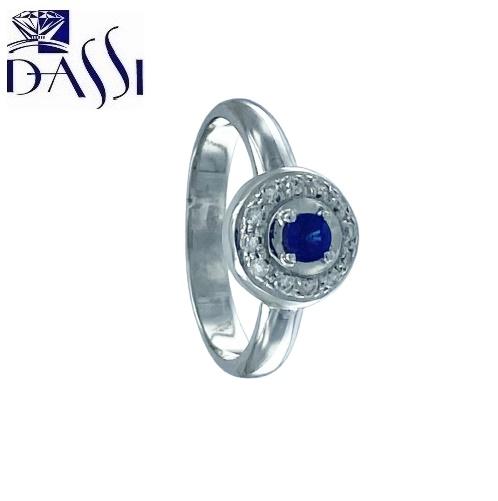 Anello in oro bianco 18 kt con diamanti e zaffiro blu.