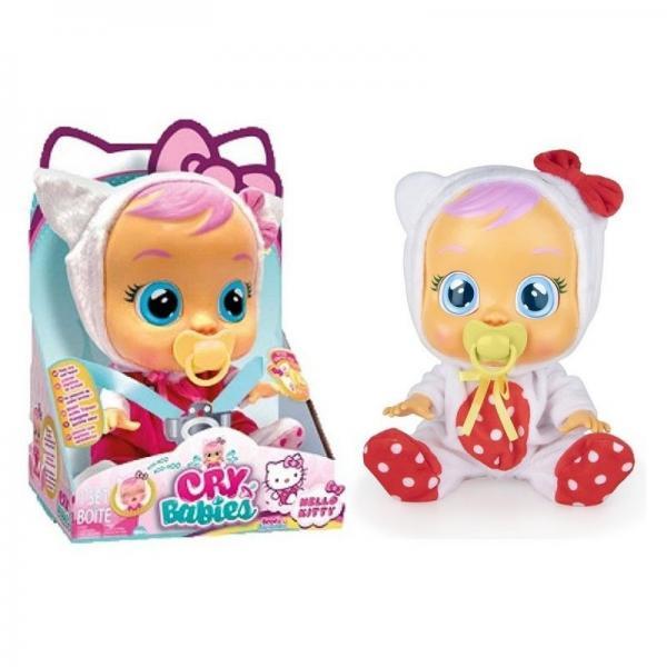 CRY BABIES Hello Kitty - Bambola interattiva che piange lacrime vere con ciuccio e Pigiama