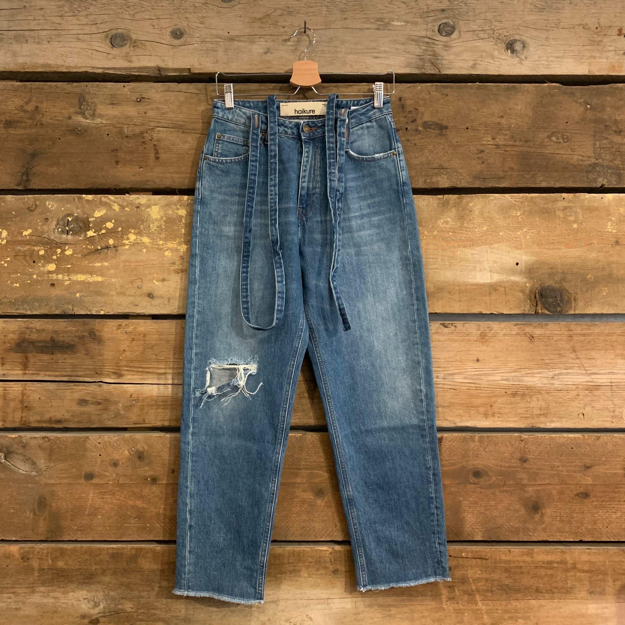 Jeans Haikure Donna Illinois Early Blue Epoch Medium Destroy Con Bretelle Removibili