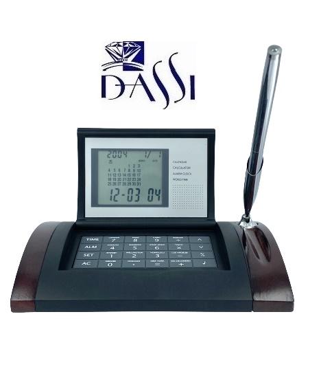 Calendario, calcolatrice, sveglia sonora e porta penna da scrivania