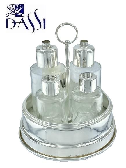 Menagere mignon in argento 800 Ampolle in vetro.