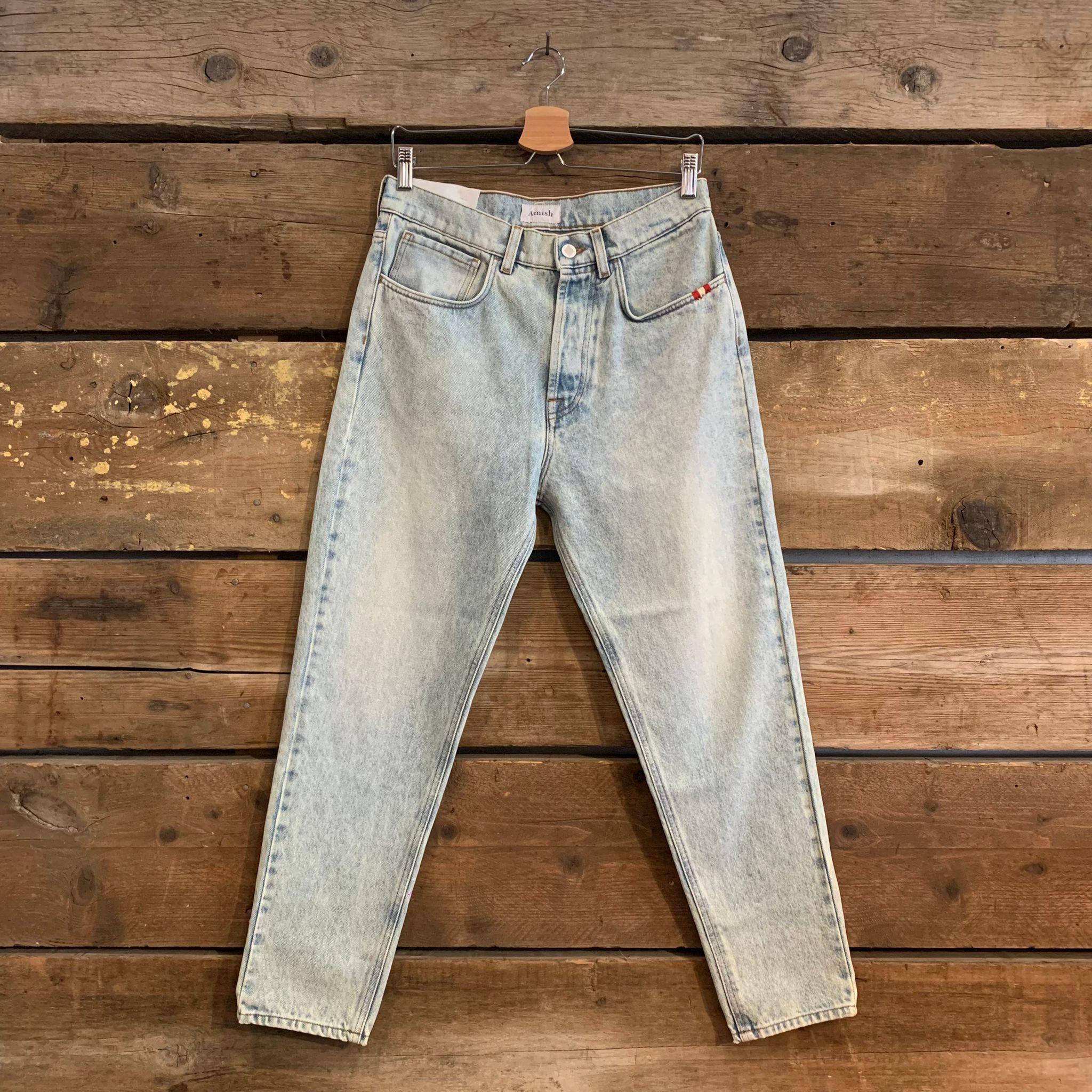 Jeans Amish Supplies Uomo Jeremiah Dirty Bleached Azzurro Chiaro