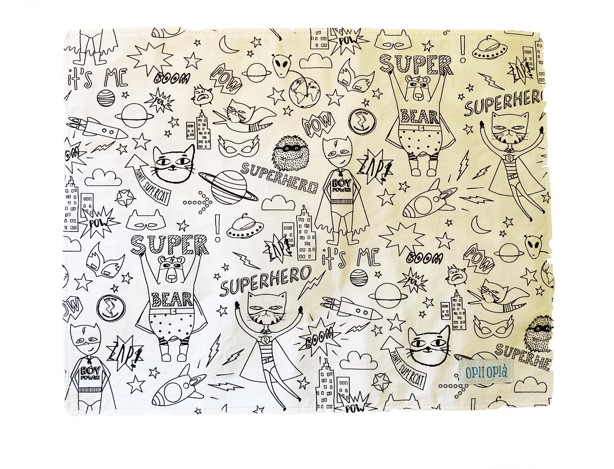 Super eroi - Tovaglietta Scuola da colorare