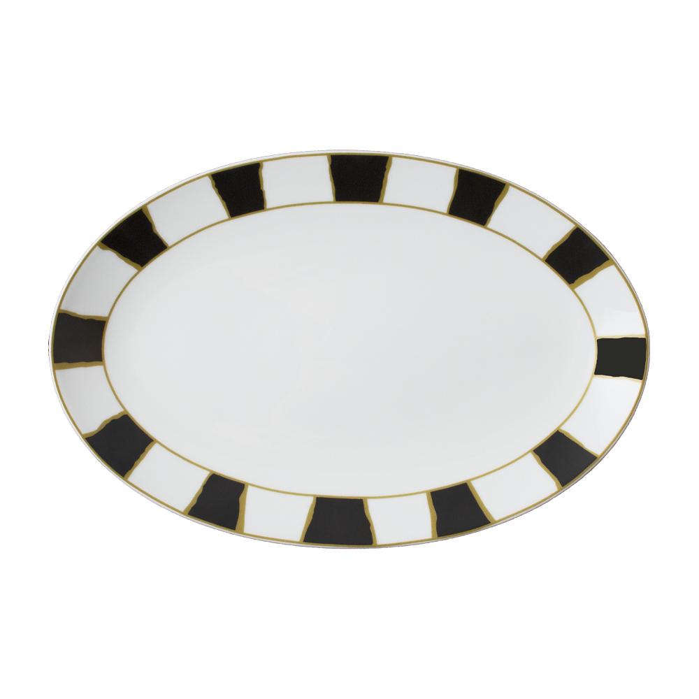 Piatto ovale cm 26 | Striche Nere e Oro