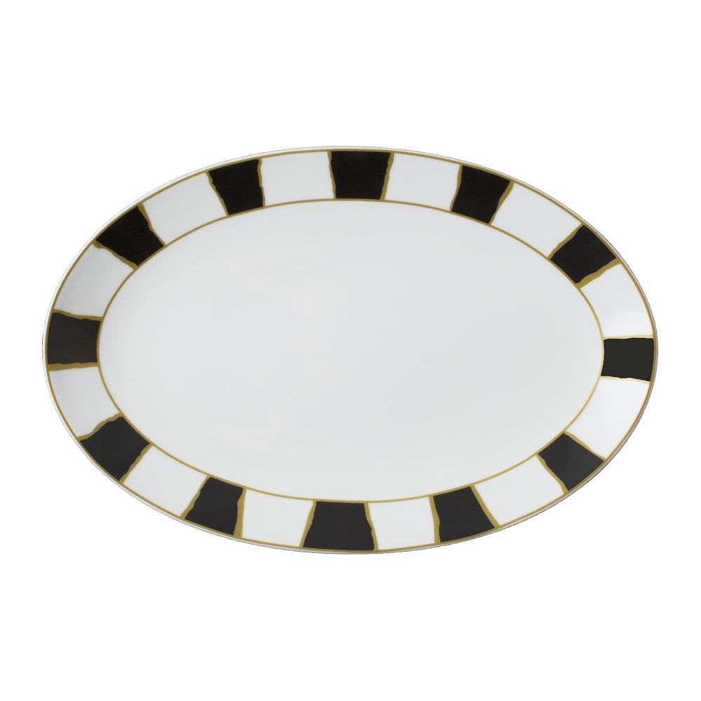 Piatto ovale cm 32   Striche Nere e Oro
