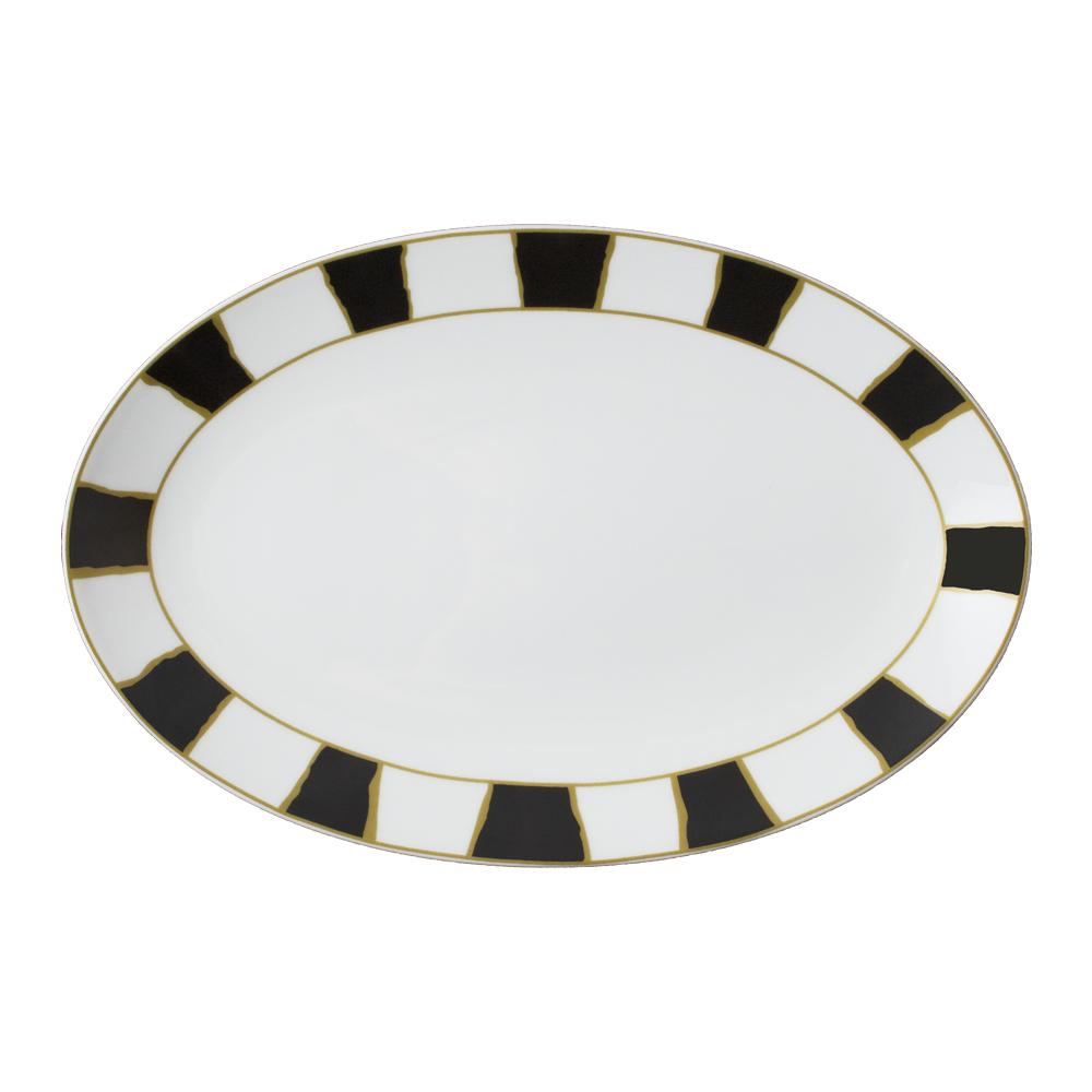 Piatto ovale cm 37   Striche Nere e Oro
