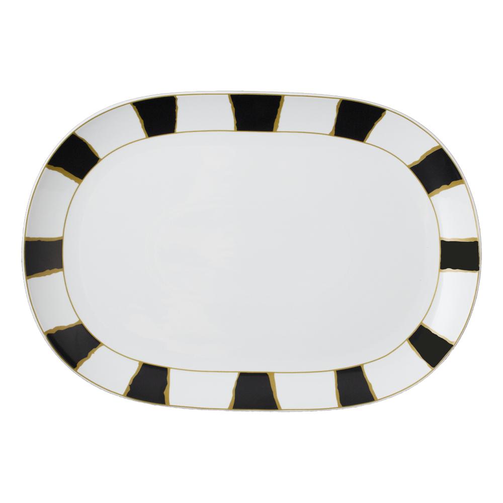 Piatto ovale cm 45   Striche Nere e Oro