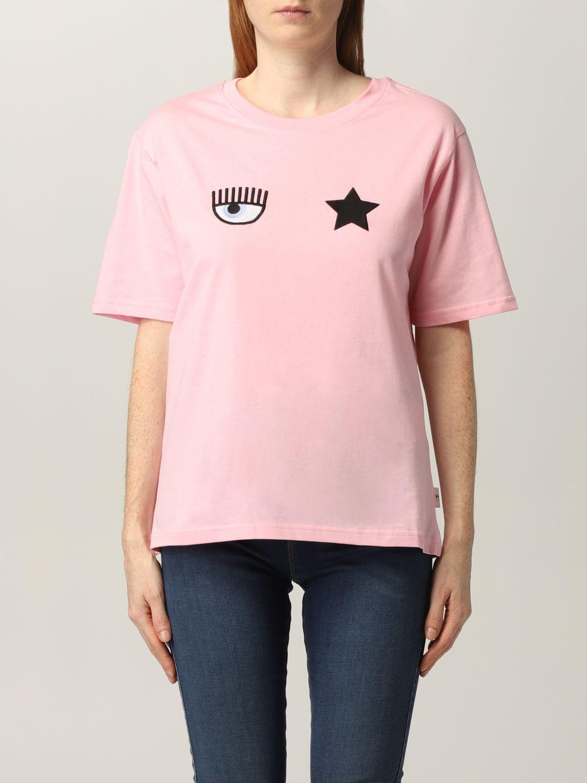 T-shirt rosa con logo davanti di Chiara Ferragni