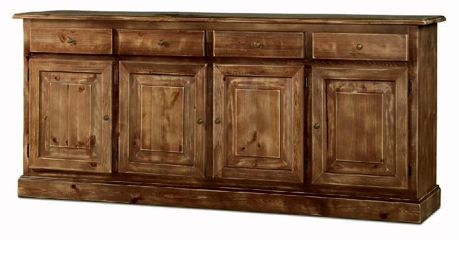 Credenza 4 porte in legno massello di pino, con finitura laccato consumato