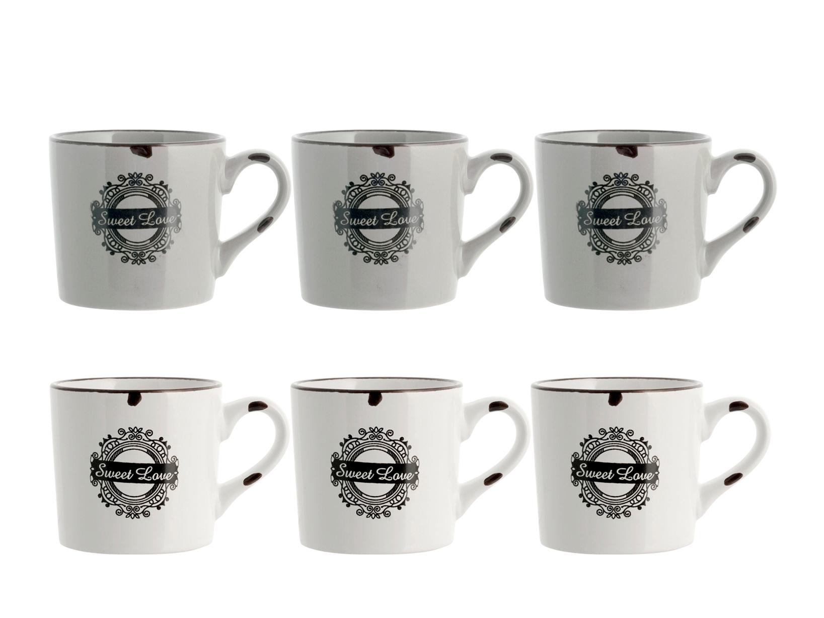 6 Tazze Te's/p In Stoneware Vintage Assortiti Cc220