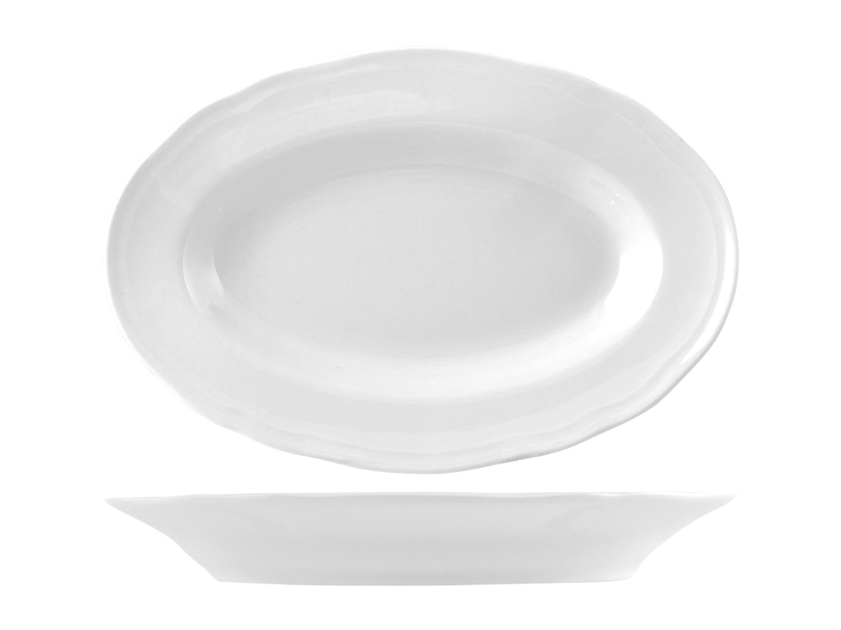 Piatto In Porcellana Alba Bianco Ovale Cm 23