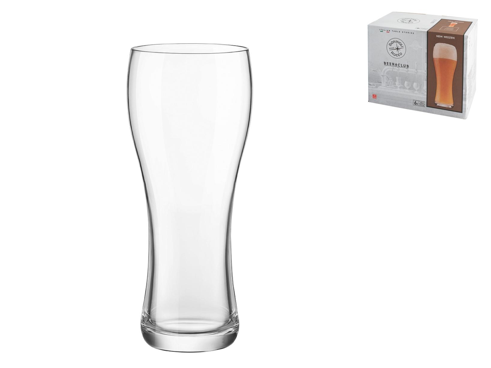 6 Bicchieri In Vetro Birra New Weizen Cl66