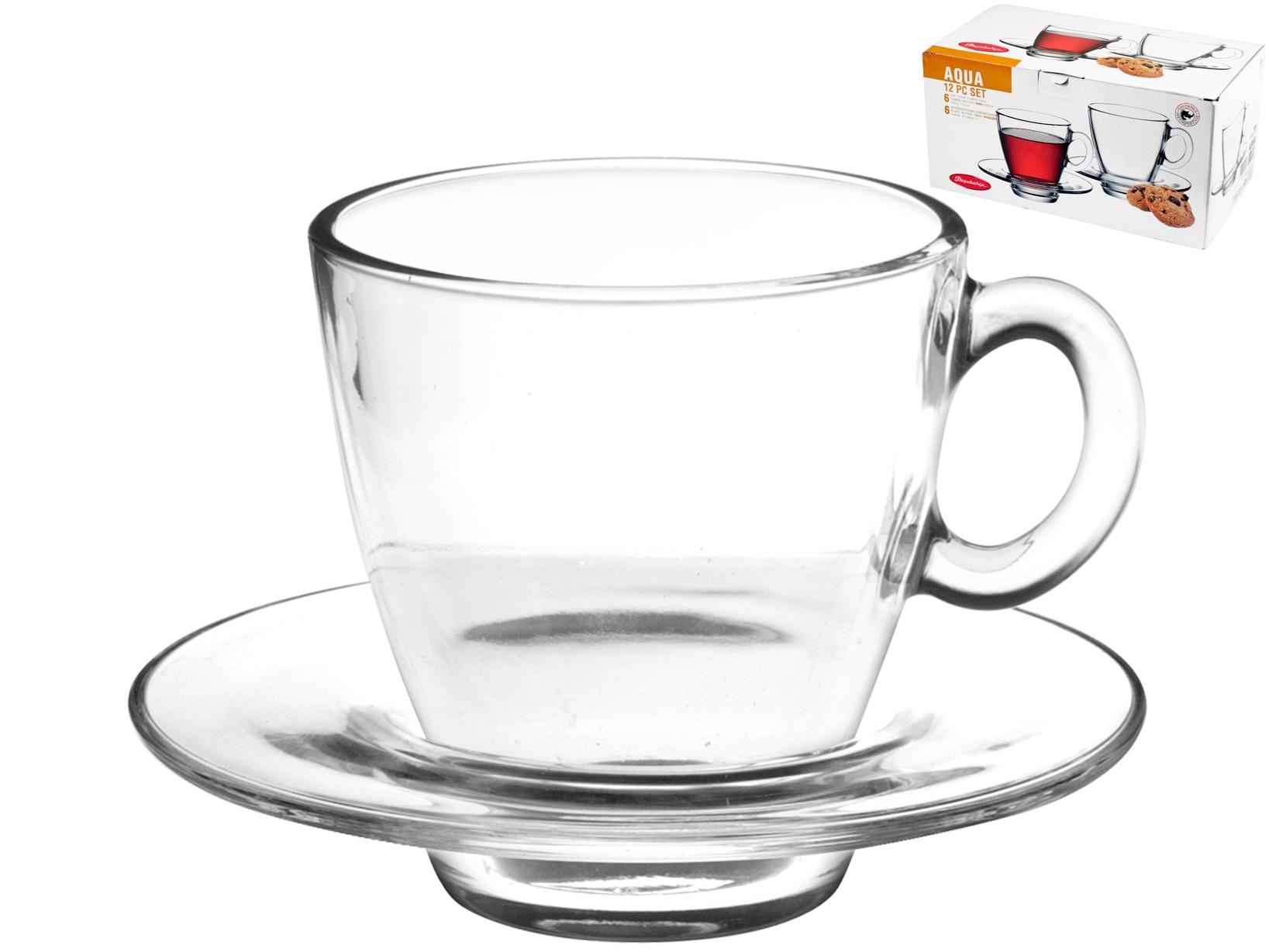 6 Tazze Cappuccino Con Piatto Aqua 21,5