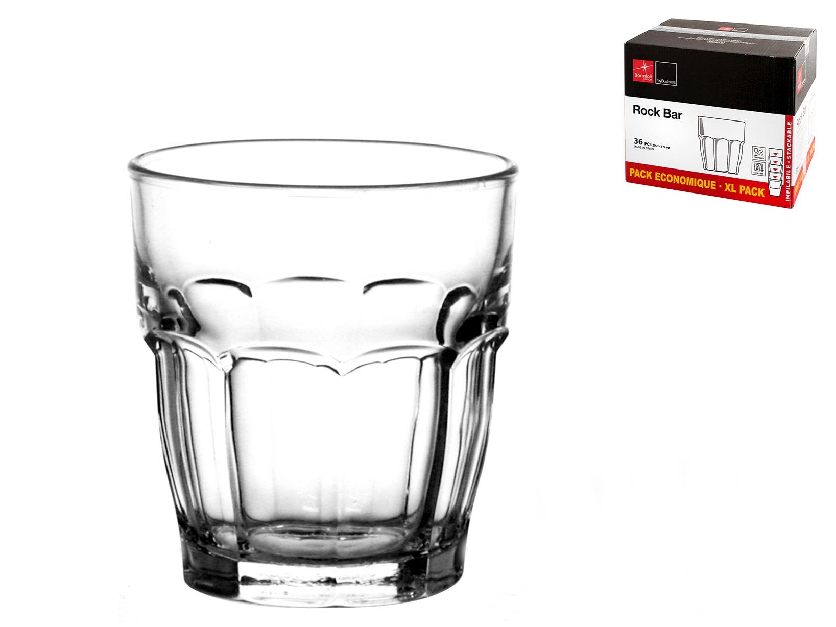 Scatola 36 Bicchieri In Vetro Rockbar Cl20