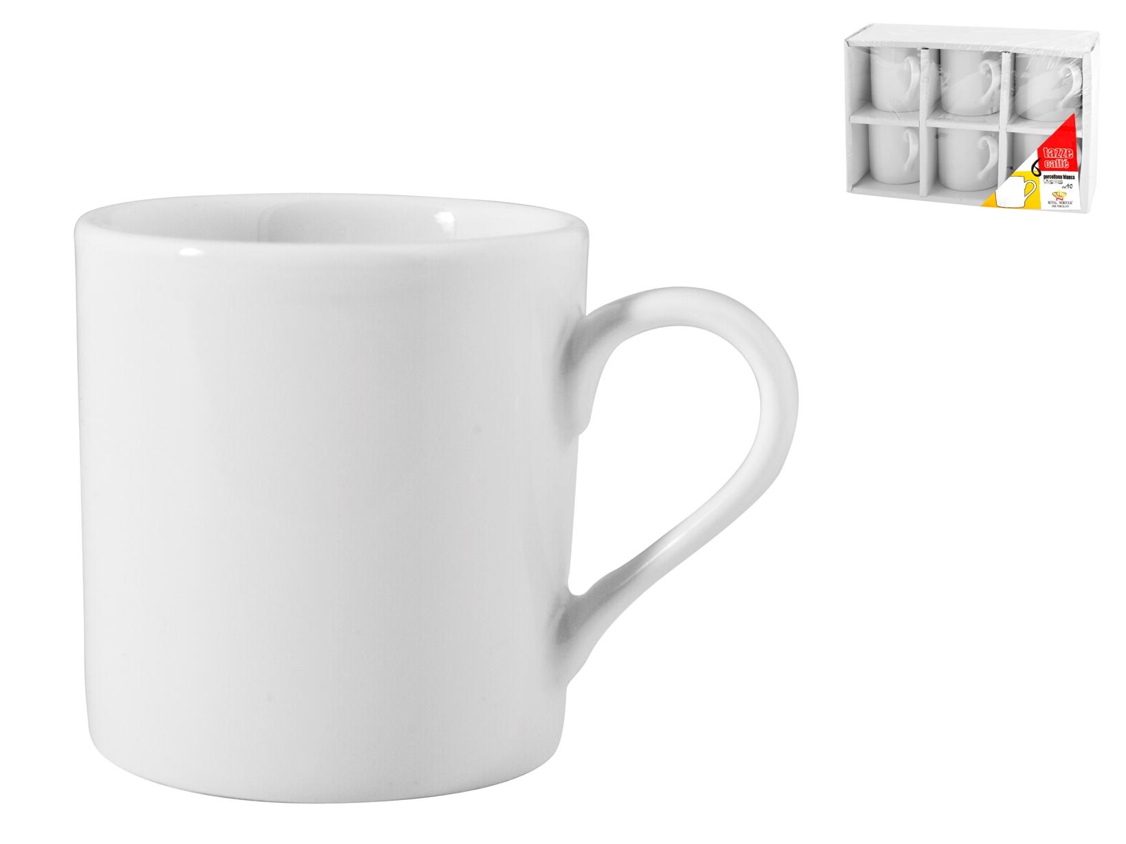Confezione 6 Caffe' Porcellana Bianco Cc90 Senza Piatto  502