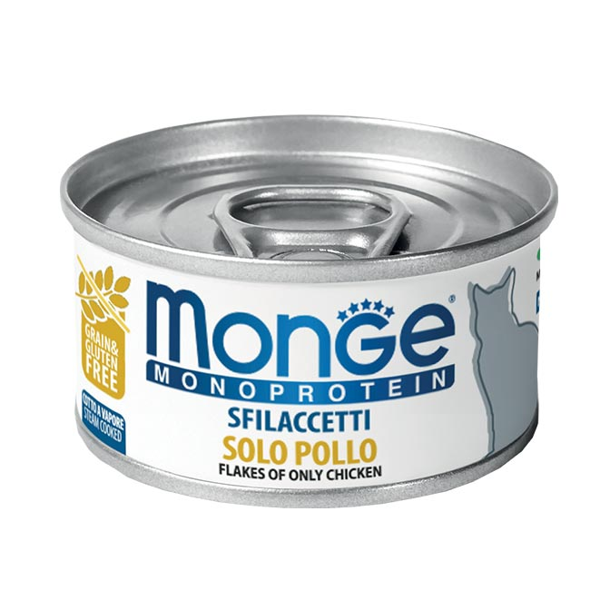 MONGE MONOPROTEIN SFILACCETTI SOLO POLLO PER GATTO 80gr