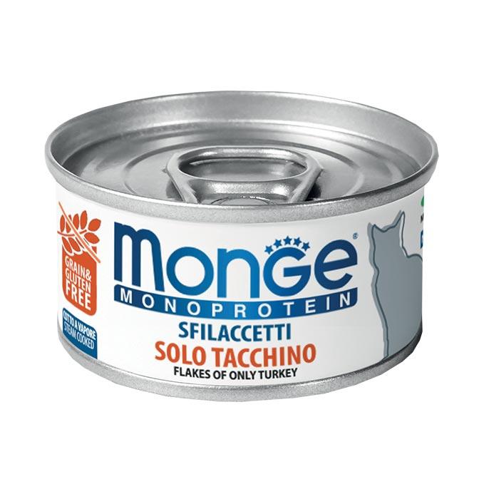 MONGE MONOPROTEIN SFILACCETTI SOLO TACCHINO PER GATTO 80gr