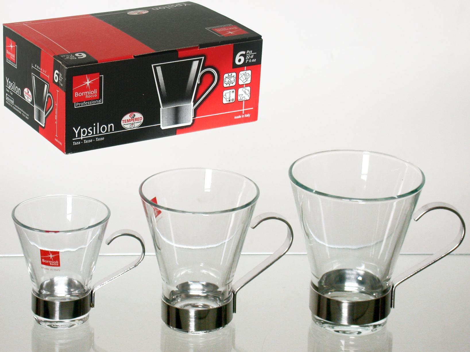 Confezione 6 Tazze Caffe' Ypsilon Manico Inox Cl11