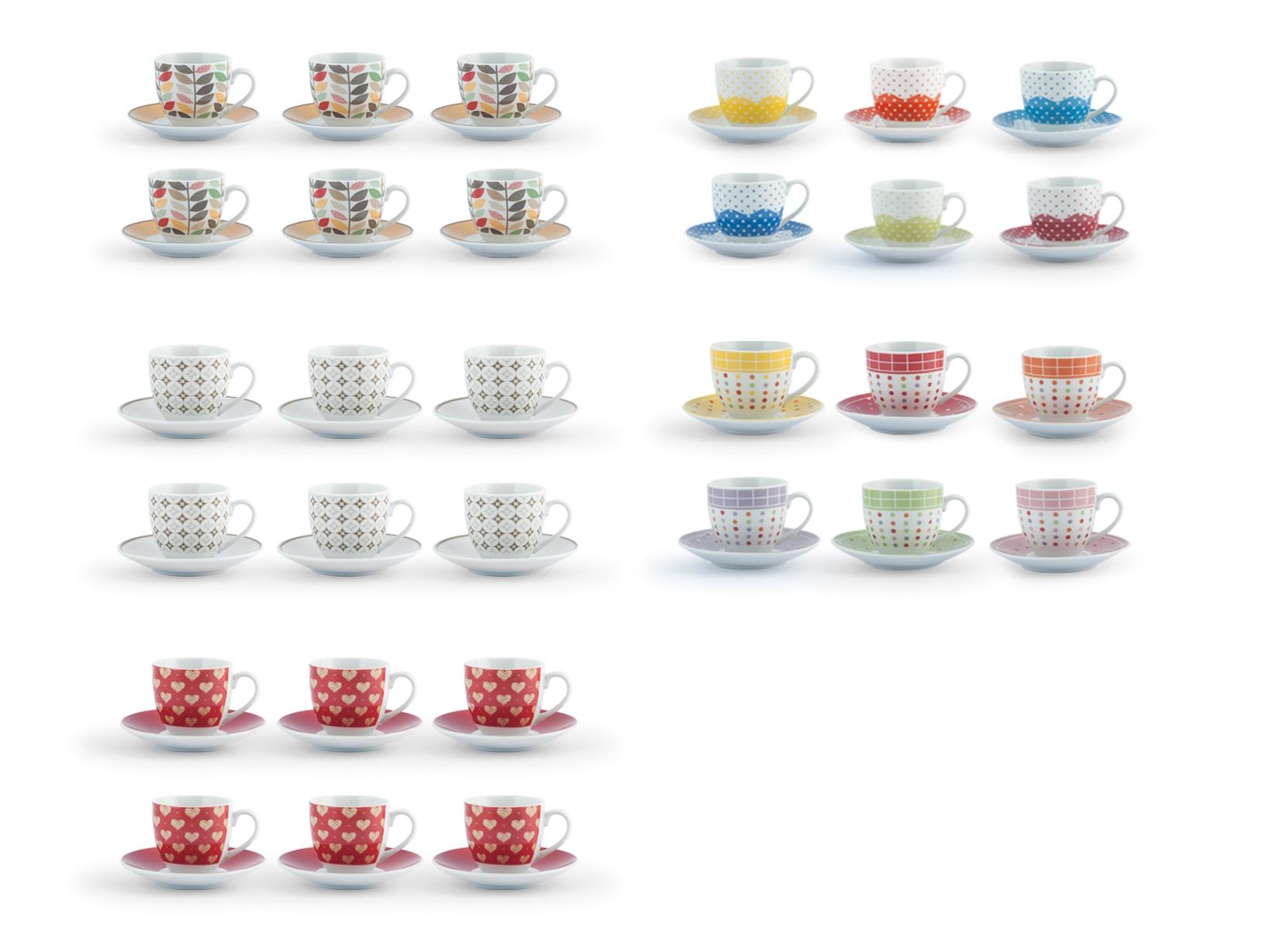 Confezione 6 Caffe'pcl Decoro Assortito Con Piatto Cc90