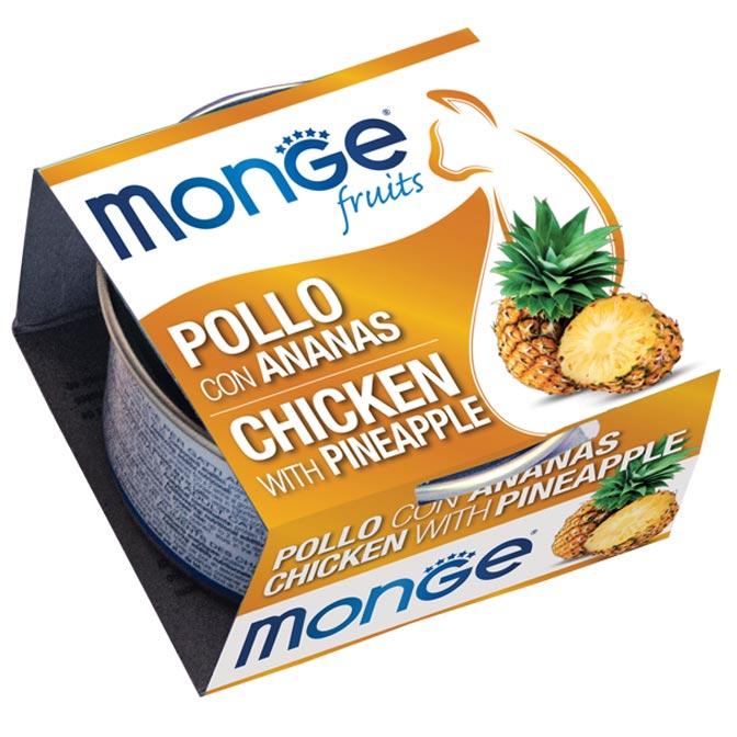 MONGE FRUITS POLLO CON ANANAS PER GATTO 80gr