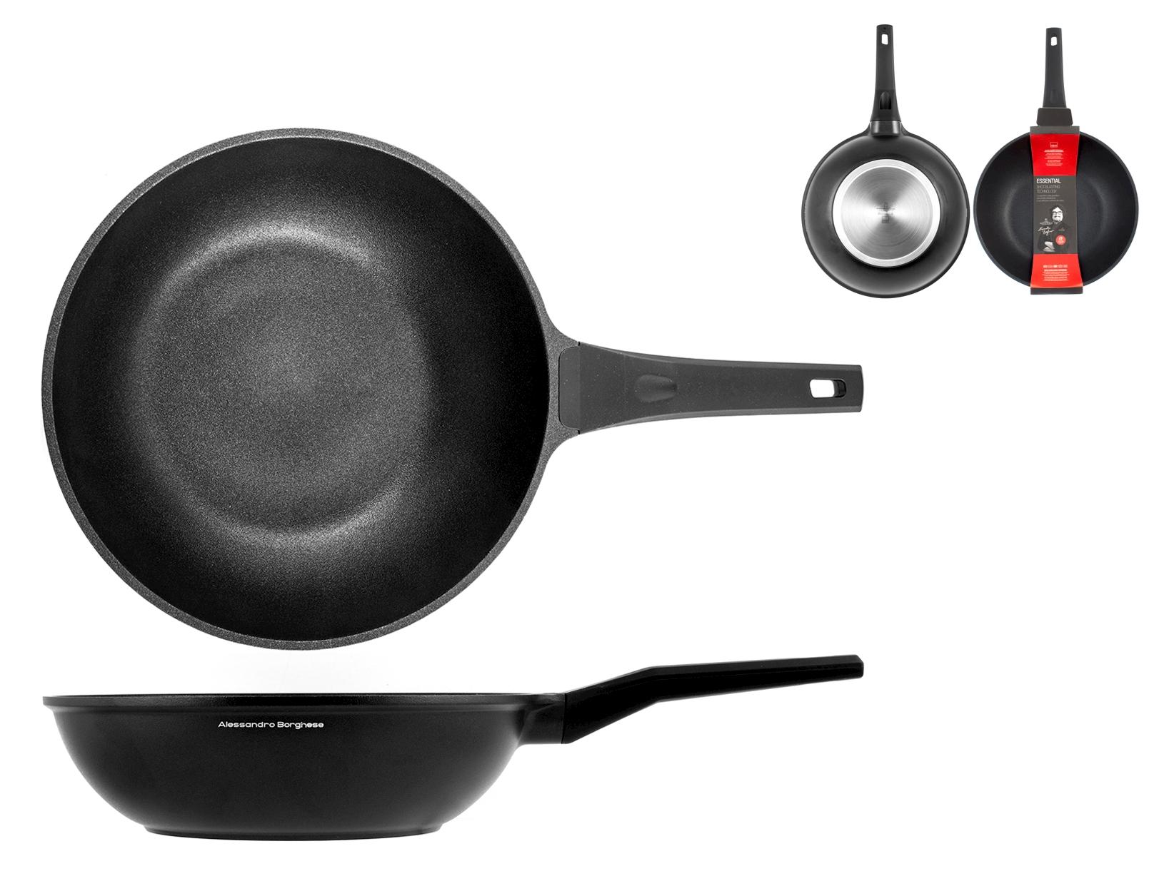 H&h Alessandro Borghese Essential Wok 1 Manico, Antiaderente