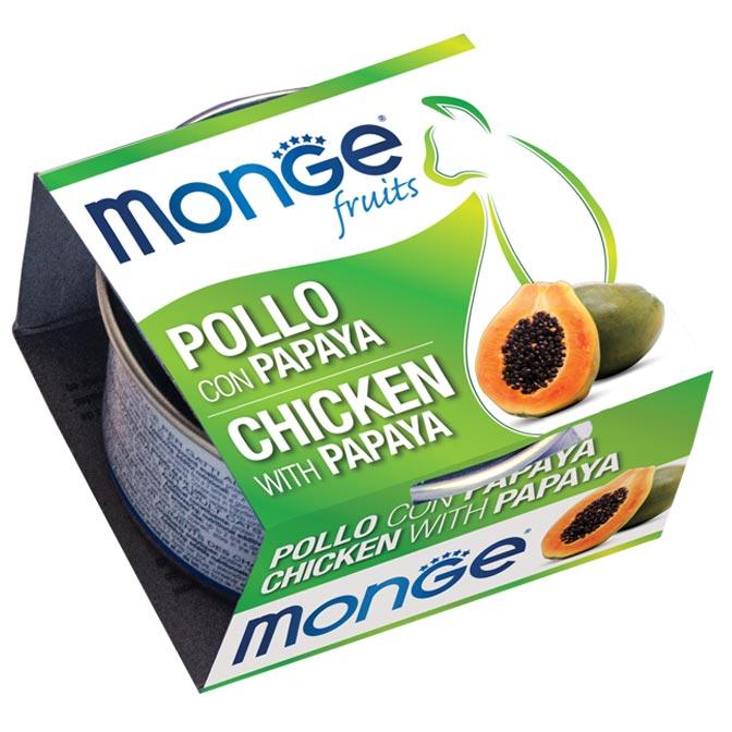 MONGE FRUITS POLLO CON PAPAYA PER GATTO 80gr