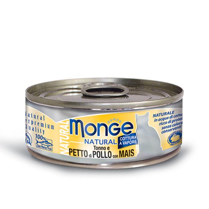 MONGE NATURAL TONNO E PETTO DI POLLO CON MAIS PER GATTO 80gr