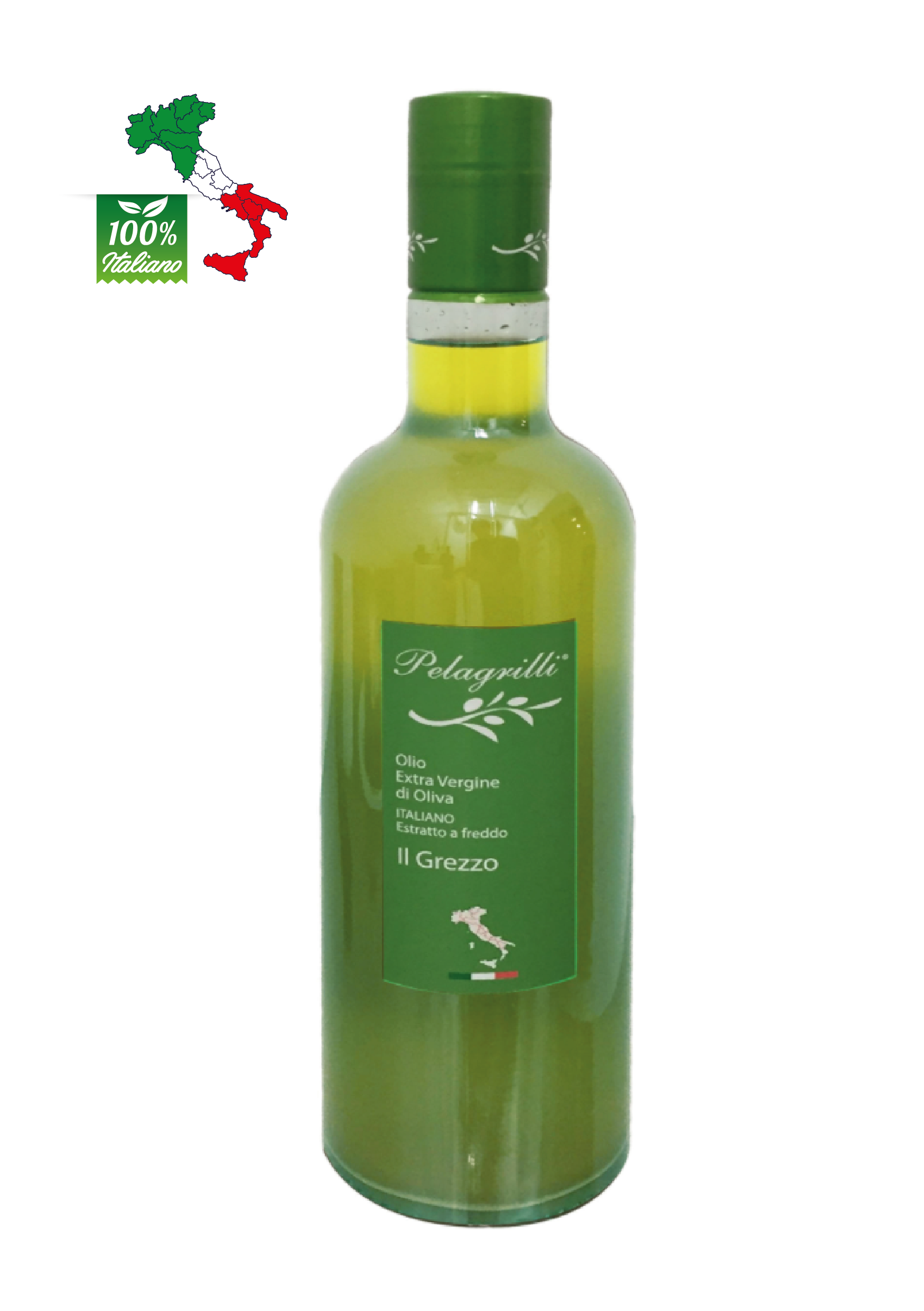 100% ITALIANO LT 0,75  Olio extravergine di oliva- Raccolto 2021-2022- estratto a freddo GREZZO