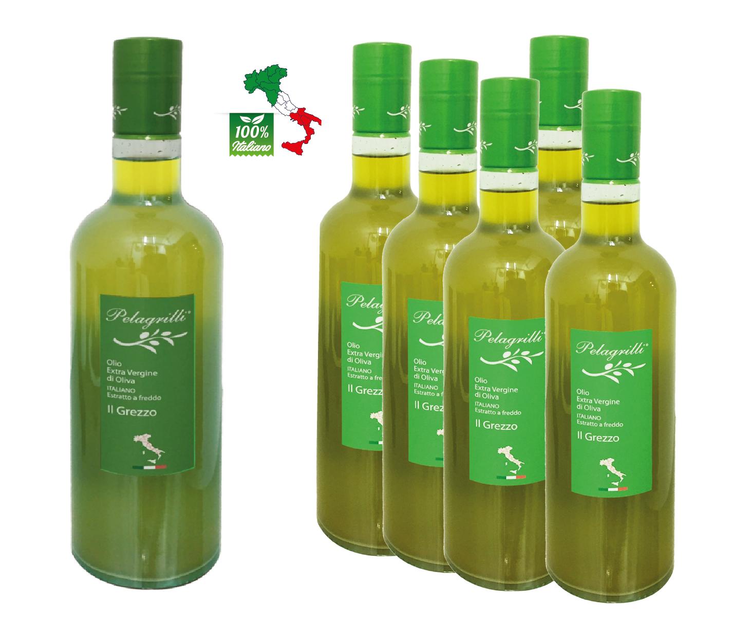 100% ITALIANO - Olio extravergine di oliva confezione da 6 bottiglie da LT 0,75 ciascuna - Raccolto 2021-2022- estratto a freddo GREZZO