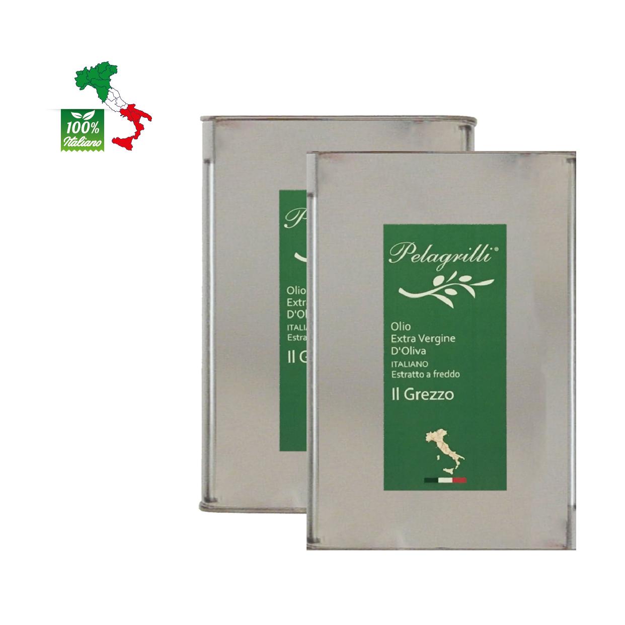 100% ITALIANO - Olio extravergine di oliva - confezione da due lattine da LT 3 ciascuna - Raccolto 2021-2022 - estratto a freddo GREZZO