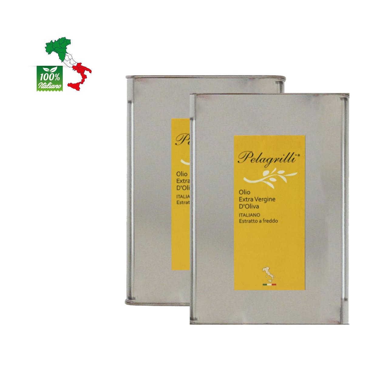 100% ITALIANO -  Raccolto 2021-2022 Olio extravergine di oliva - confezione da due lattine da LT 3 ciascuna  - estratto a freddo - FILTRATO