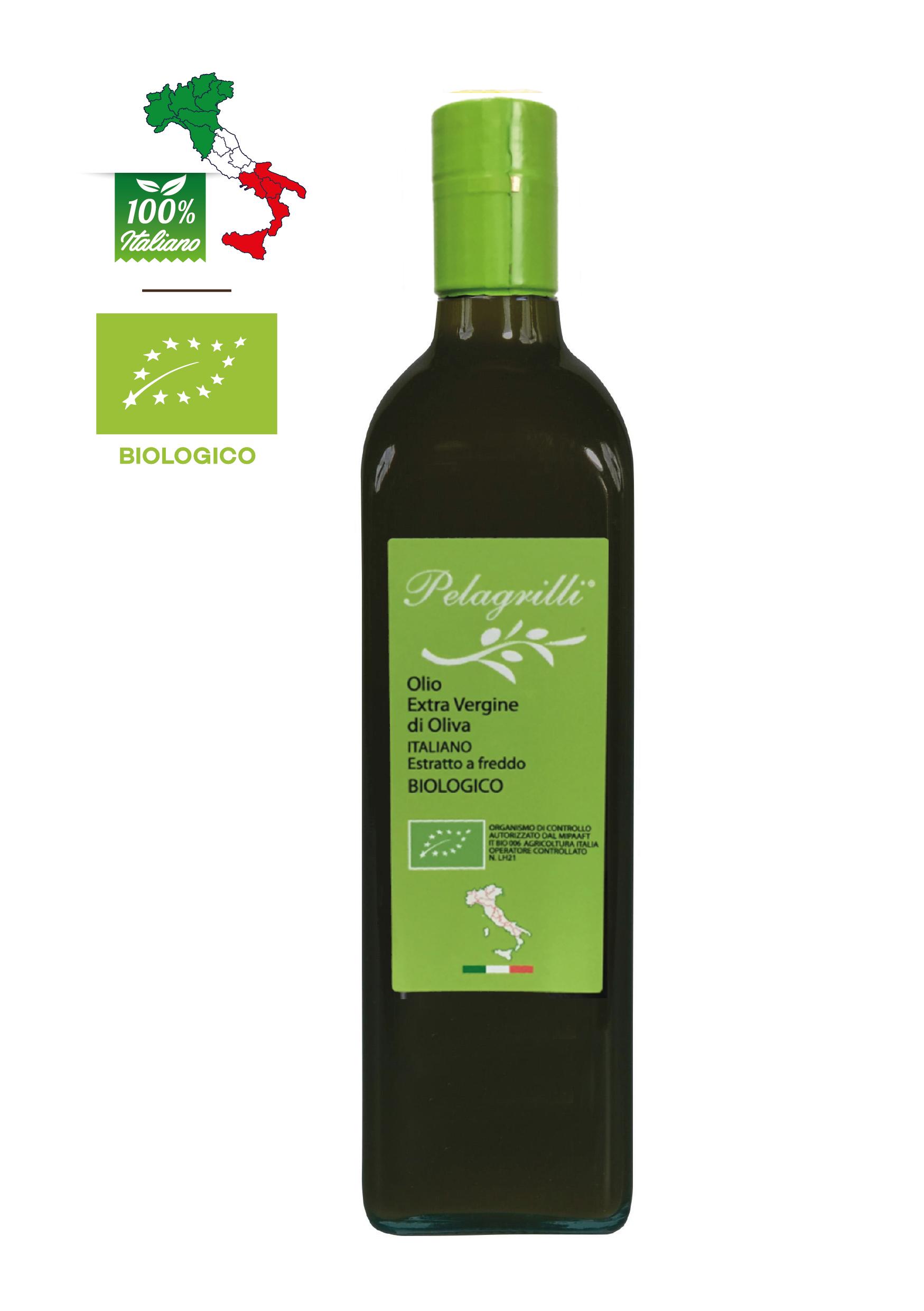 BIOLOGICO 100% ITALIANO LT 0,75  Olio extravergine di oliva- Raccolto 2020-2021- estratto a freddo - FILTRATO