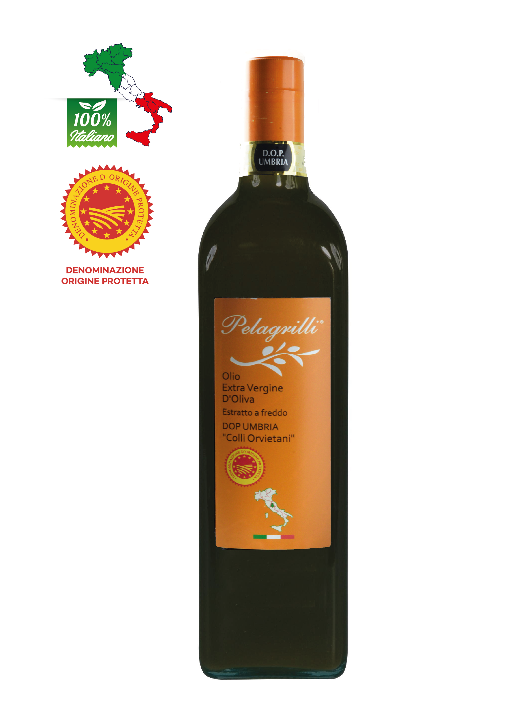 DOP UMBRIA Colli Orvietani  LT 0,75  Olio extravergine di oliva - Raccolto 2021-2022 - estratto a freddo - FILTRATO